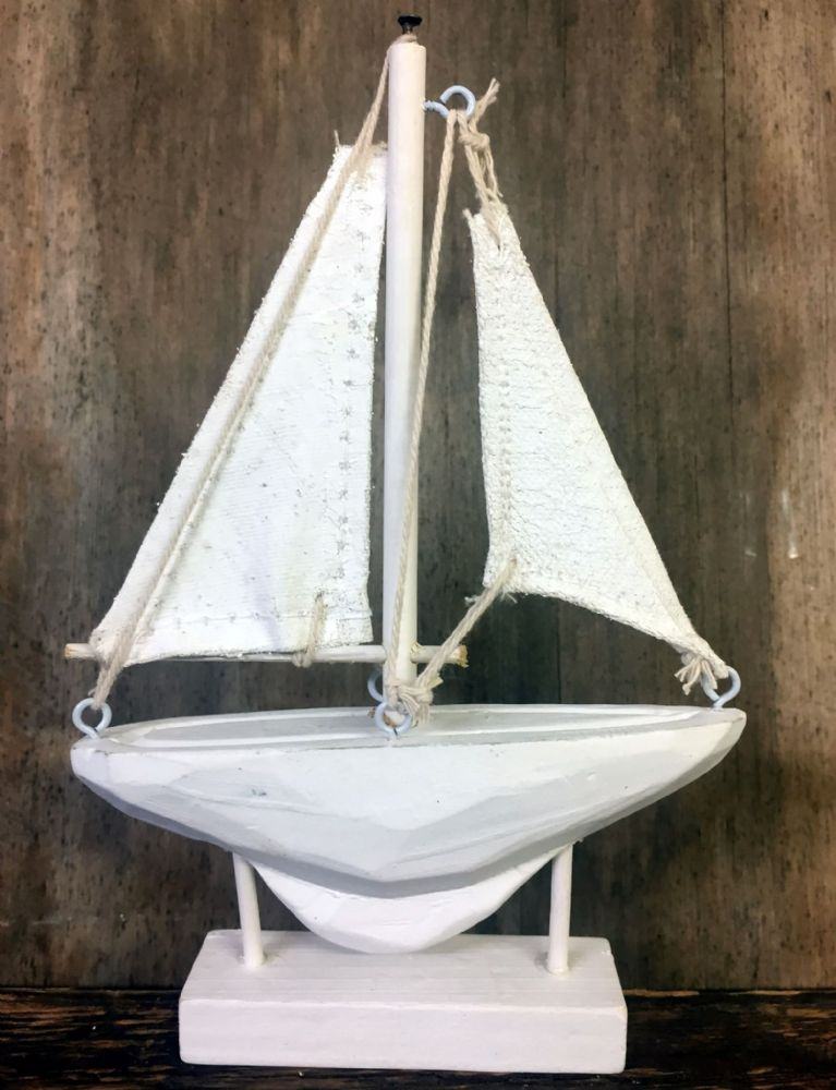 Small Wooden White Wash Wood Boat On Stand Nautical Ornament
